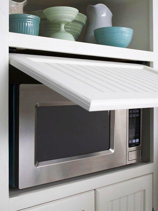 New Kitchen Storage Ideas Pinterest Hidden Microwave Doors And