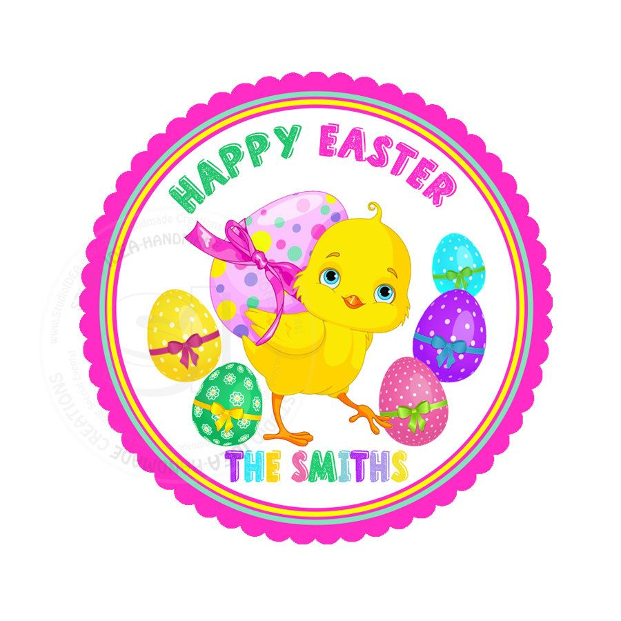 Custom happy easter printable 2 5 tags easter chick tags digital file by studioidea on etsy