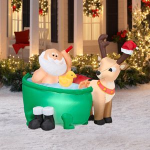 45 tall x 4 long airblown santa in bathtub christmas inflatable - Inflatable Christmas Lawn Decorations