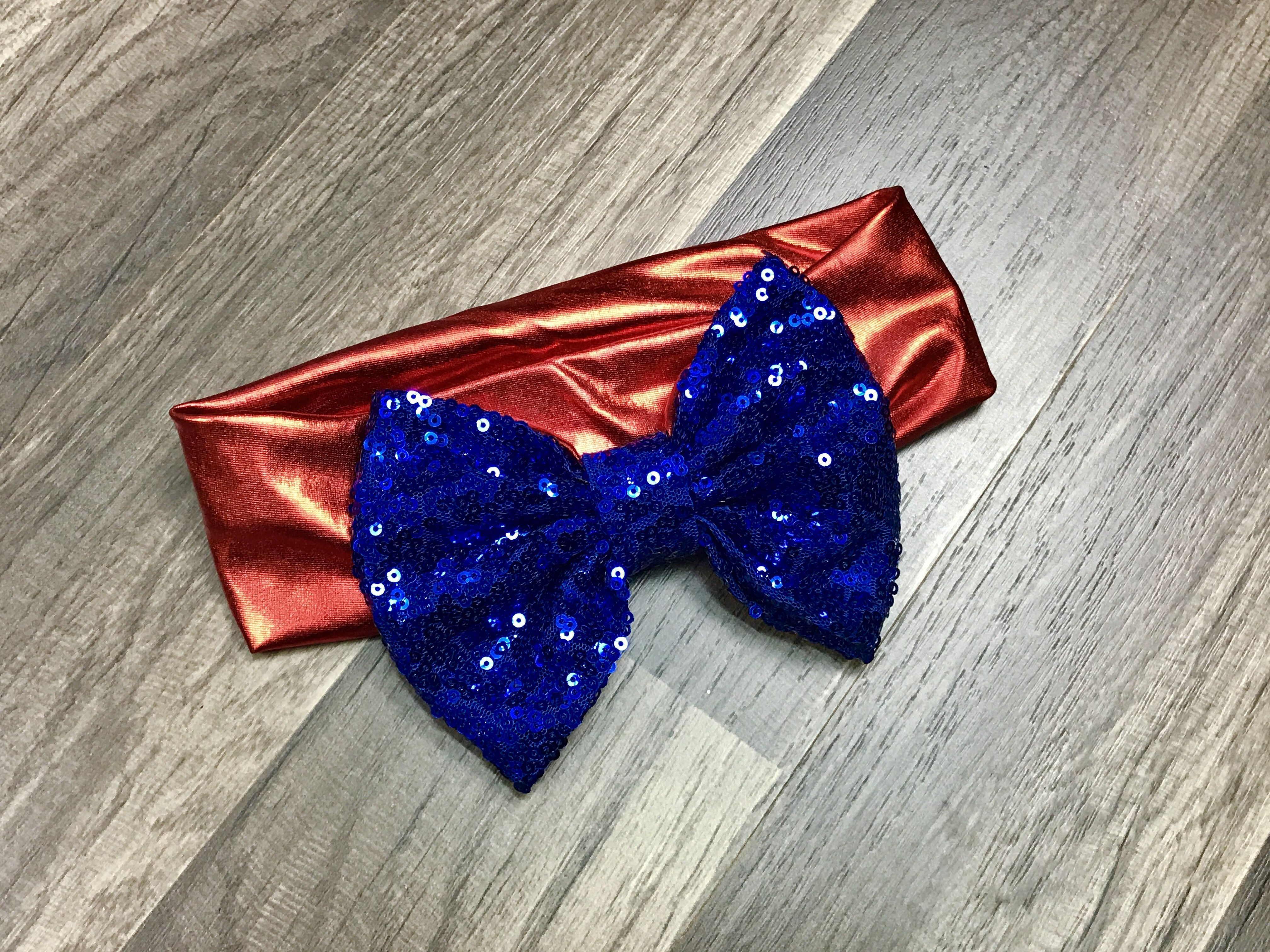 Blue and Red Big Bow Headband