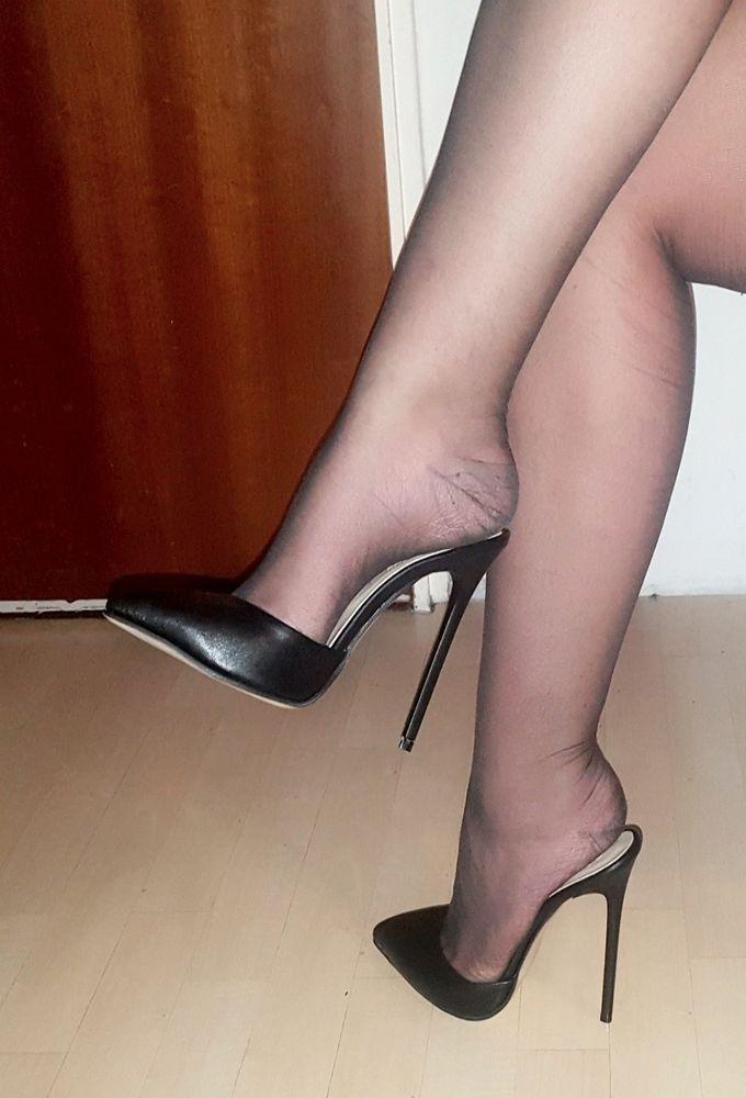 High Heels Stiletto Mules in Schwarz Matt mit 13 cm absatz in Gr ...