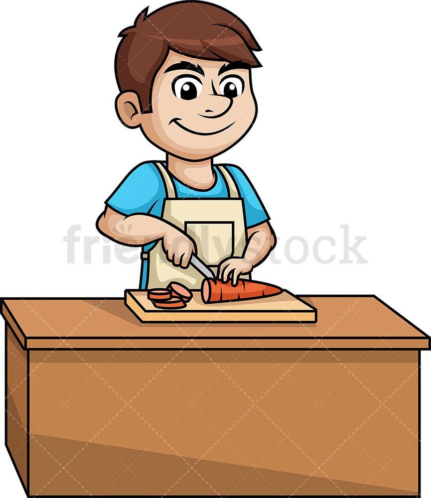 Man Chopping Carrot Cartoon Clipart Vector Friendlystock Cartoon Clip Art Cartoon Clip Art