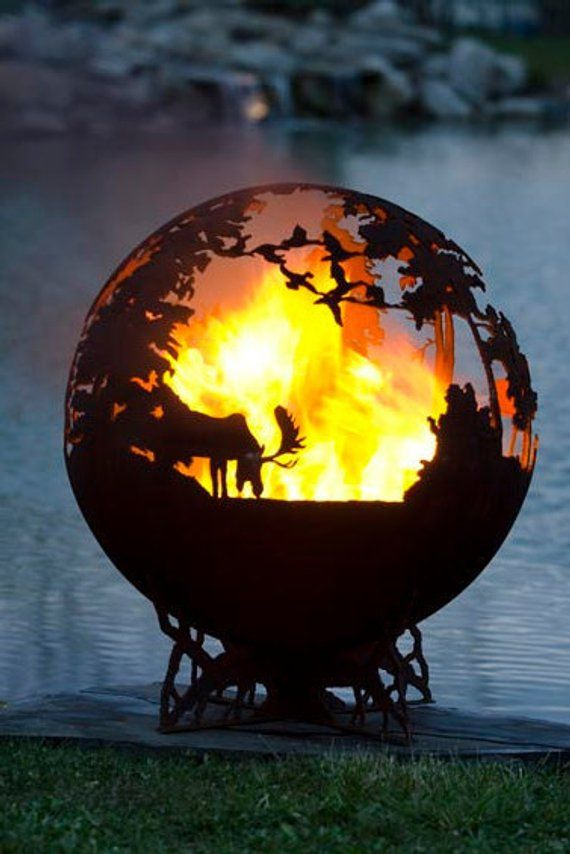 Up North Fire Pit - Custom Outdoor Hand Cut Steel Deer Firepit Sphere  #ModernFirePit - Up North Fire Pit - Custom Outdoor Hand Cut Steel Deer Firepit