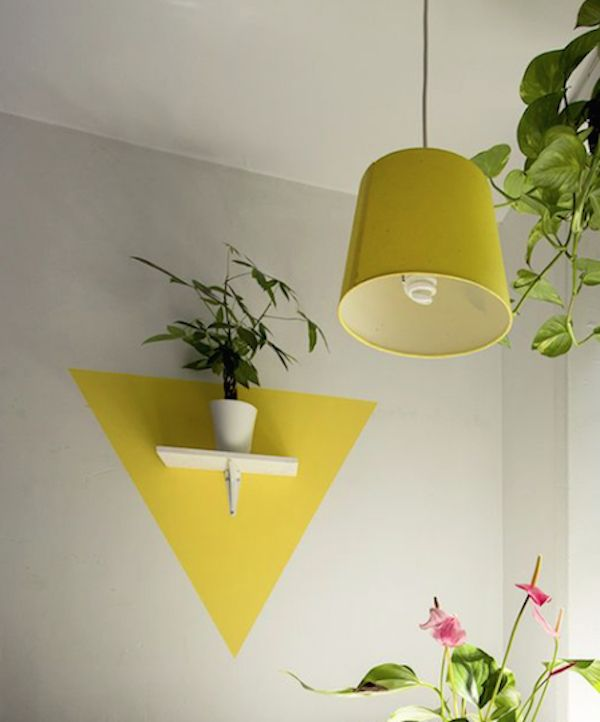 Bright yellow makes a wonderful colour choice for this plant shelf painted frame particularly in a sassy triangle shape - ties in nicely with pendant shade and gives the scheme a special colour kick.
