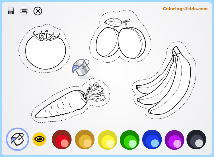 Fruits and vegetables coloring pages online for kids Coloring