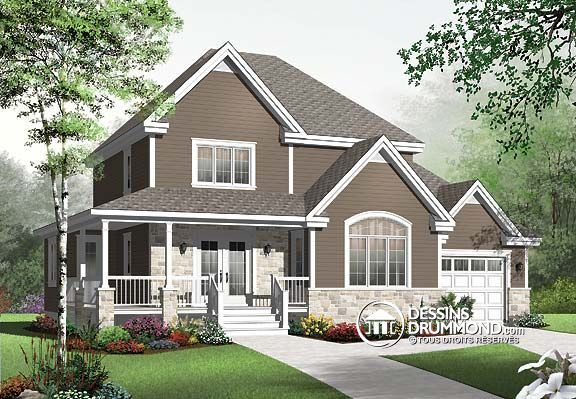 Plan de Maison unifamiliale W3820-V, champêtre, country, house style