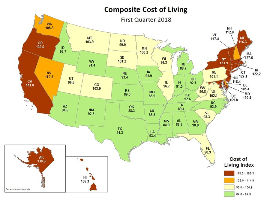 Cost Of Living By State Map Cost of Living Map | Cost of living, U.s. states, Cost
