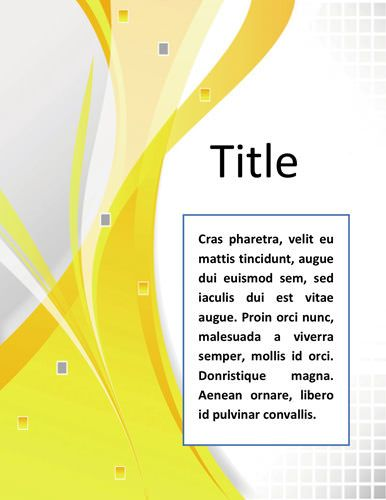 Best Book Cover Page : Word documentation cover page template very simple and