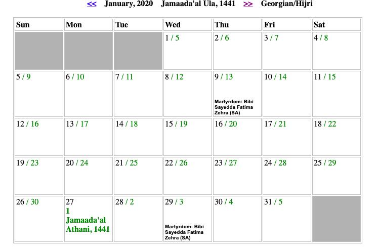 Shia Islamic Calendar 2020 Shia Urdu Calendar 1441 Printable Calendar Diy Islamic Calendar Calendar 2020 Shia