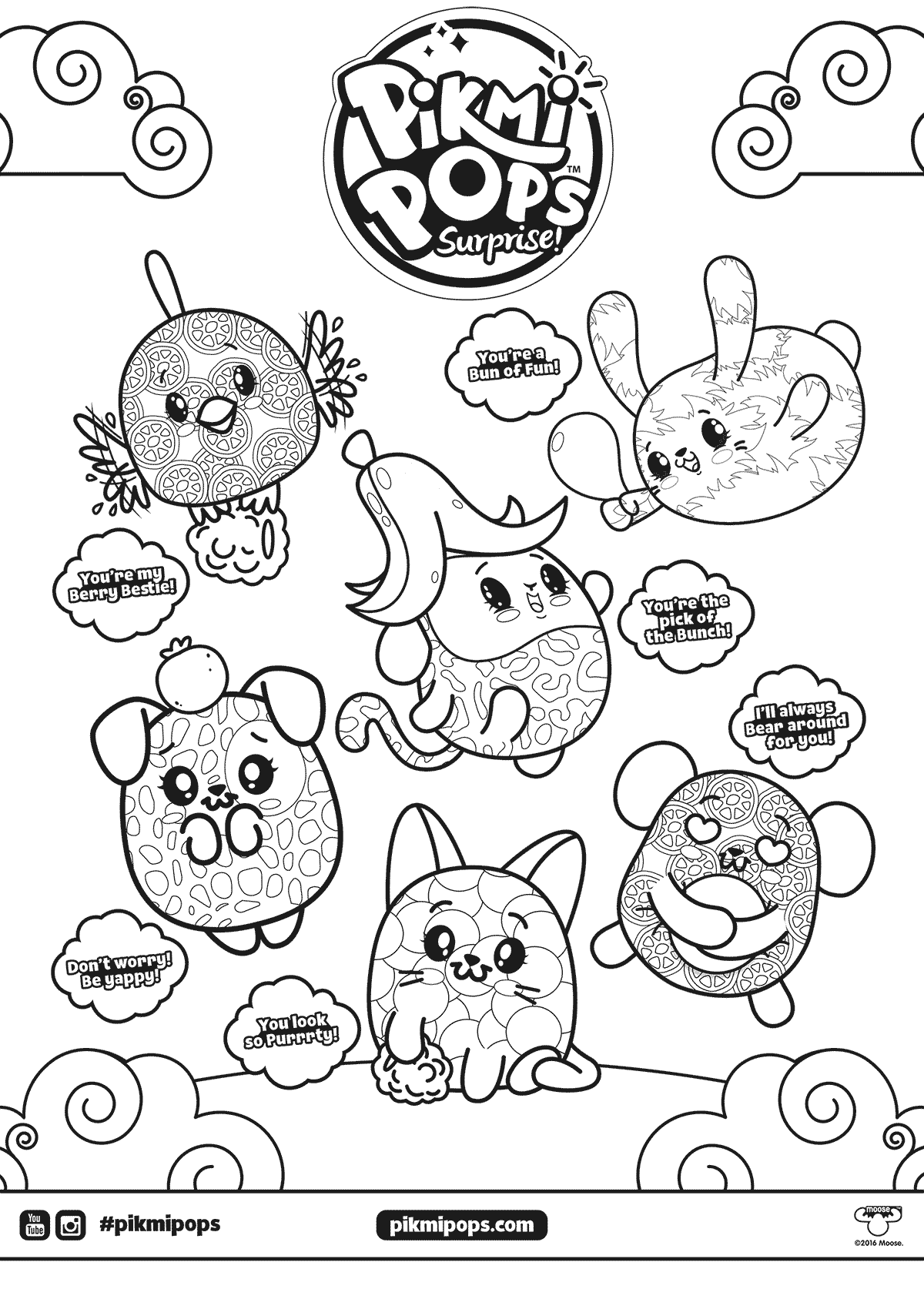 Squishies Coloring Pages : squishies, coloring, pages, Pikmi, Coloring, Pages, Pages,, Books