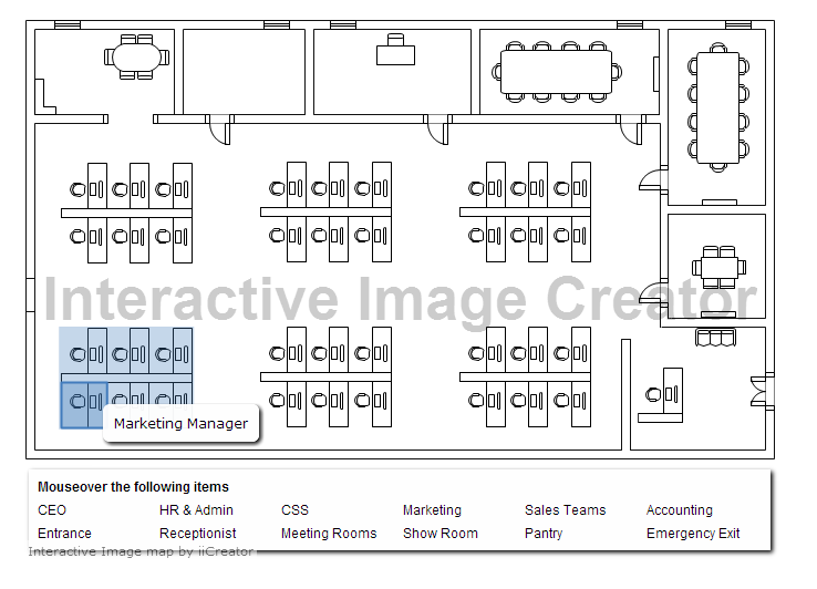interactive floor plan with category legend | dynamic images