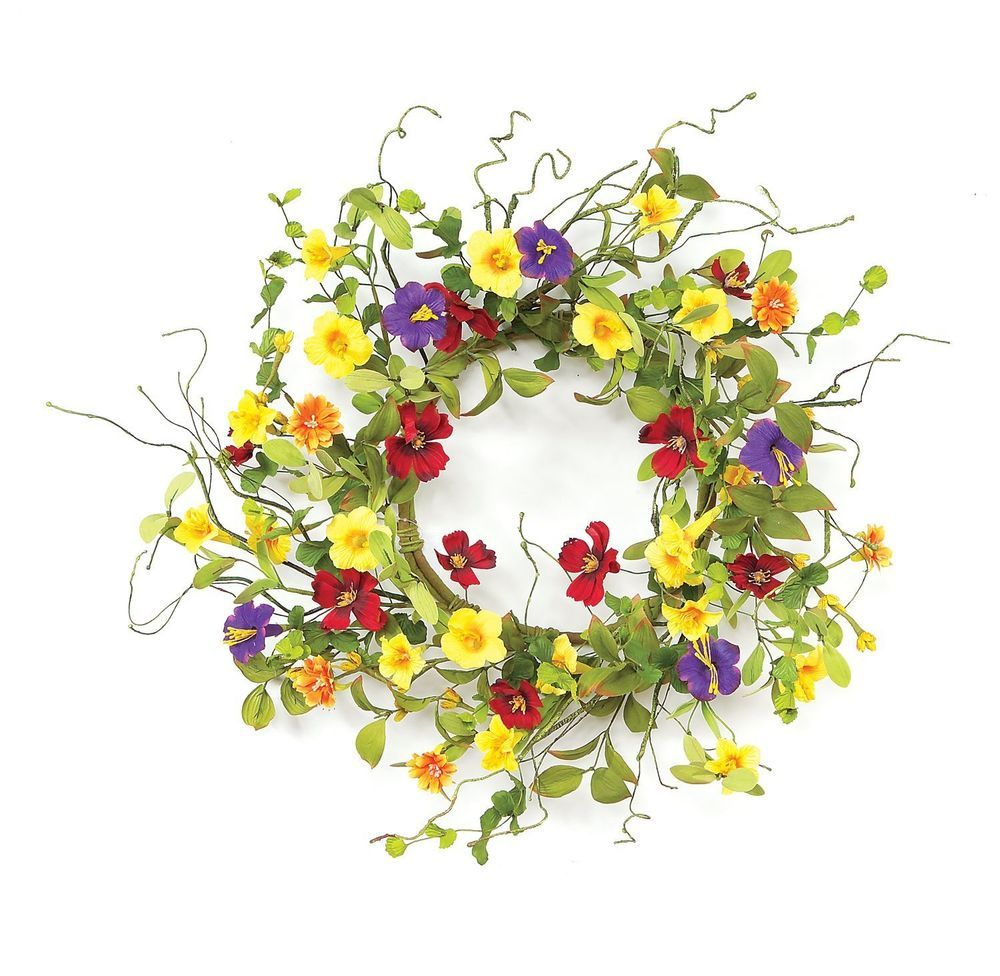 Garden Trumpet Wreath Spring Summer Easter Door Wall Decor Floral ...