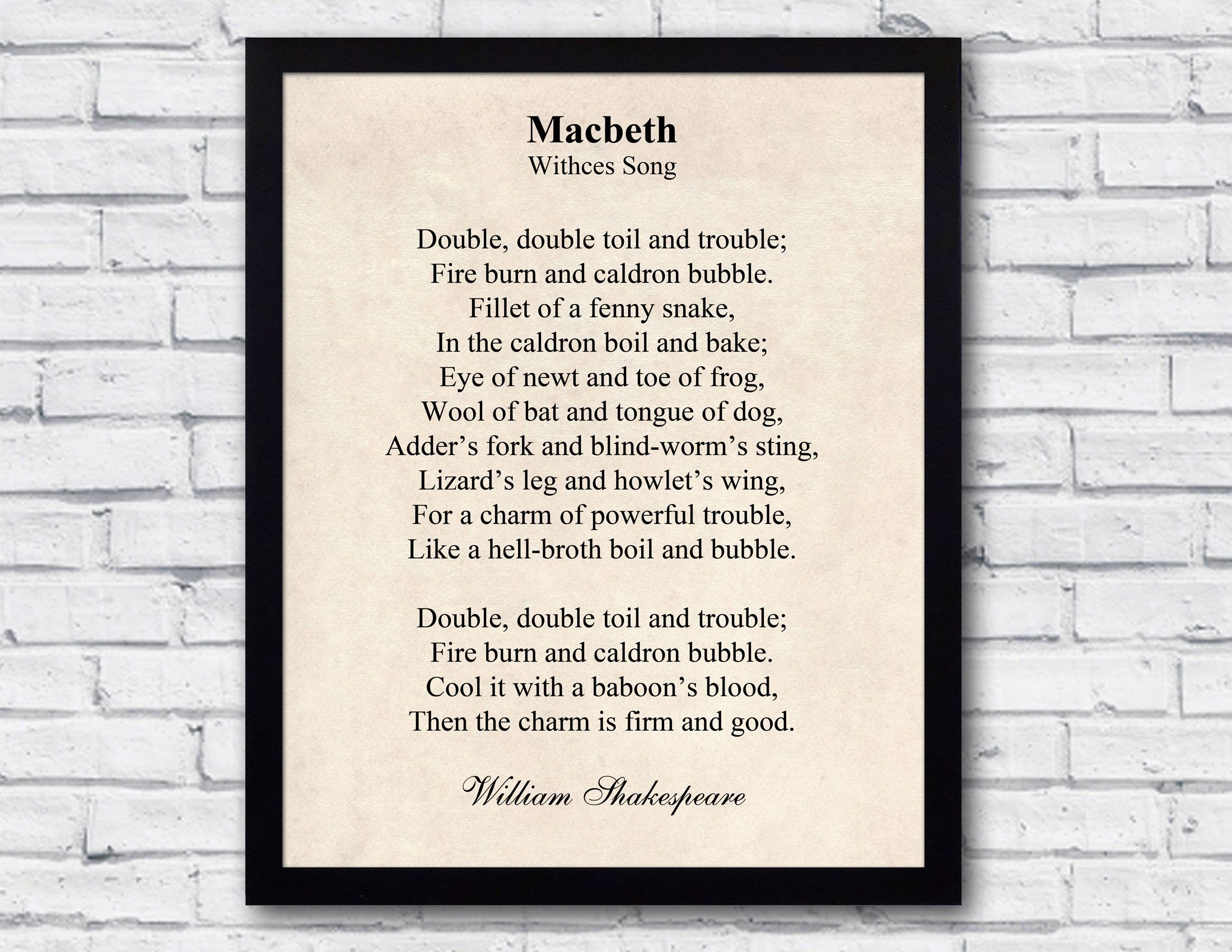 Macbeth quote william shakespeare wall art witches song