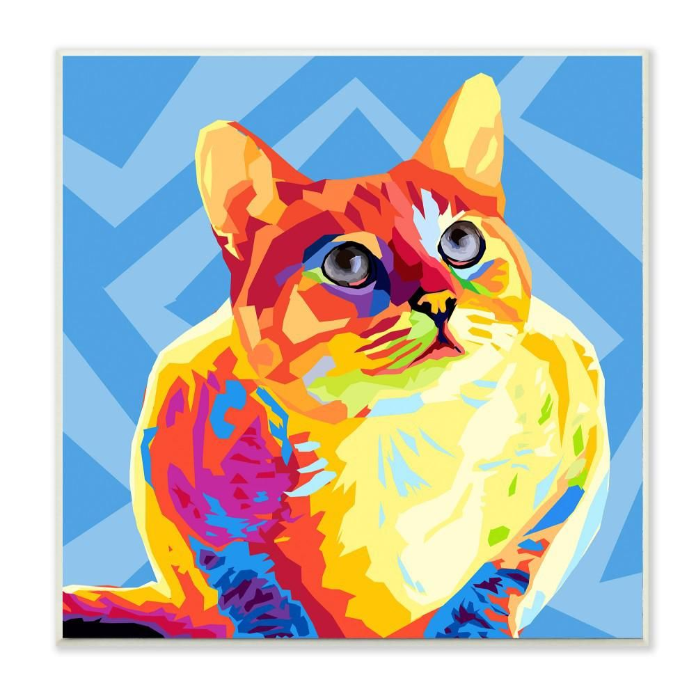 Stupell Industries 12 In X 12 In Rainbow Cat With Blue Pattern Background By Artist Main Line Art And Design Wood Wall Art Pwp 190 Wd 12x12 The Home Depot Cat Graphic Art Blue