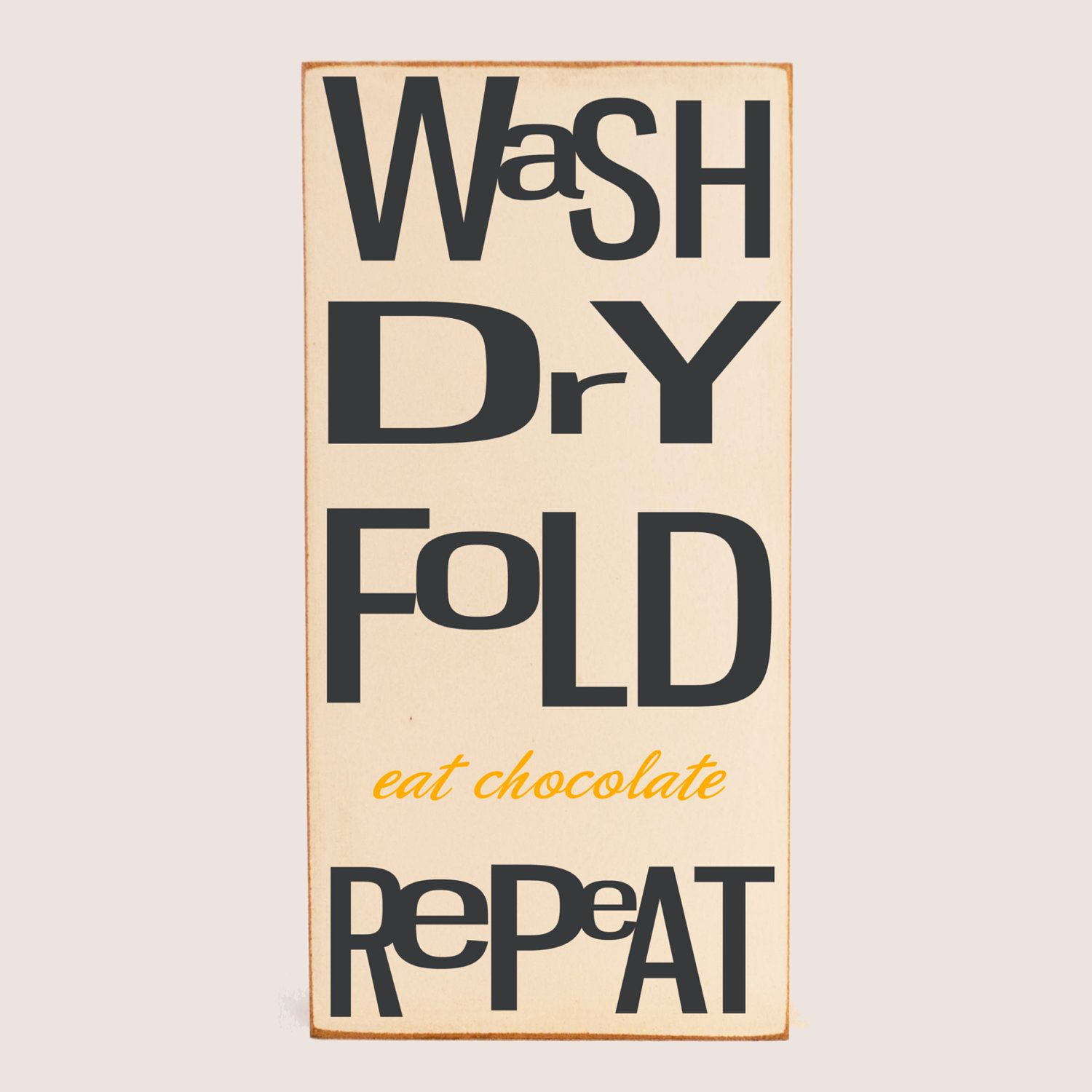 Laundry Word Art Laundry Art Wood Sign  Typography Word Art  Wash Dry Fold Repeat