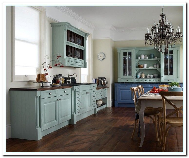 Kitchen: Painted Kitchen Cabinets Color Ideas Mixed With Dark Chandeliers  Above Rustic Dining Table And Rustic Chairs In Addition To Laminate Wooden  Floor: ...