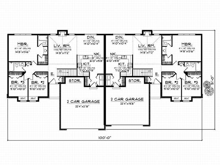 Duplesx Garage Basement Add Patio Condo Floor Plans Duplex Floor Plans Duplex Plans