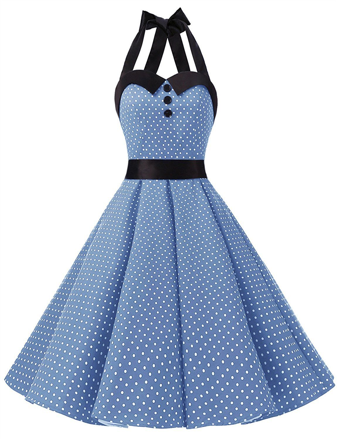 8ca82925608 Amazon.com  Dressystar Vintage Polka Dot Retro Cocktail Prom Dresses 50 s  60 s Rockabilly Bandage  Clothing