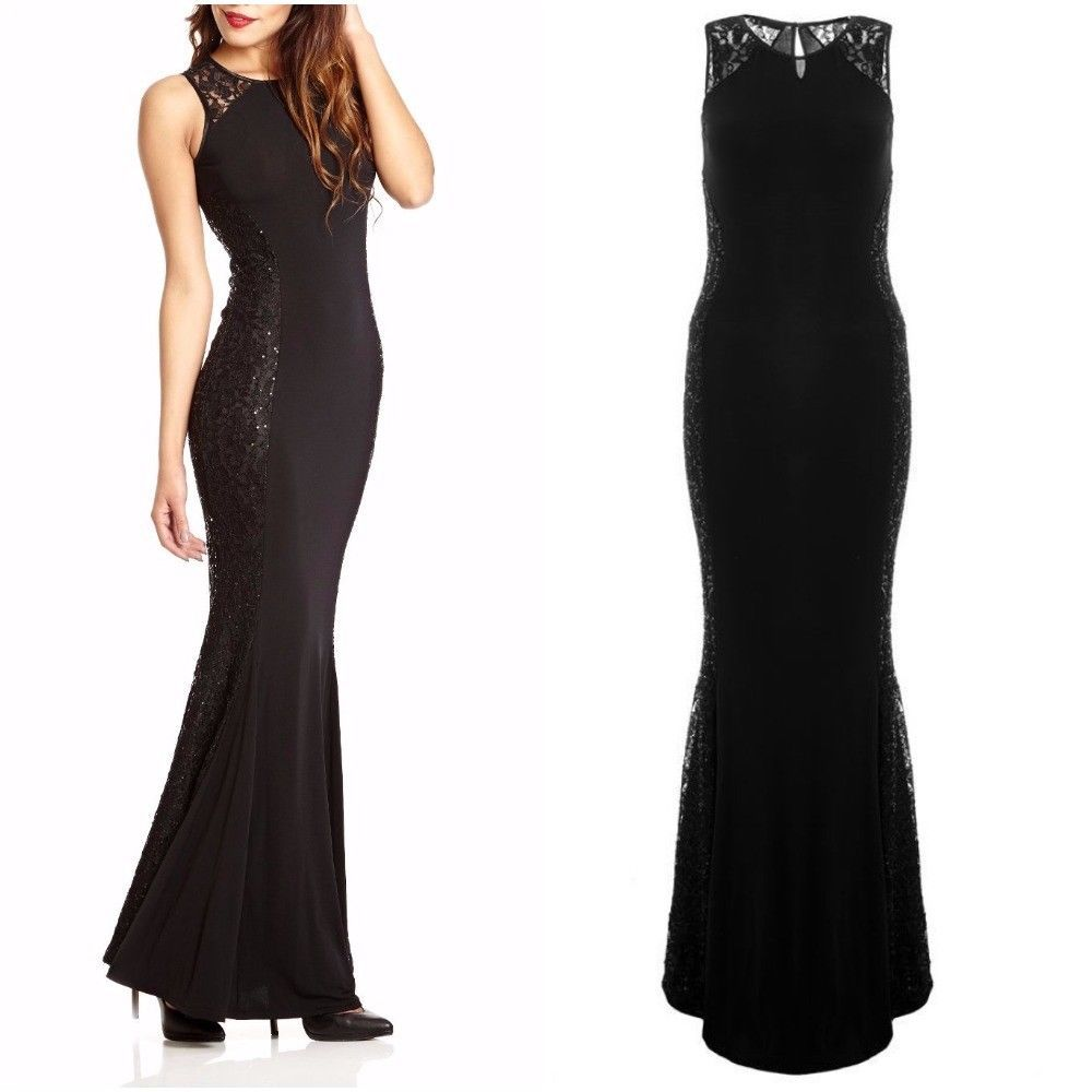 Ex quiz black lace sequin fishtail maxi dress party evening dress