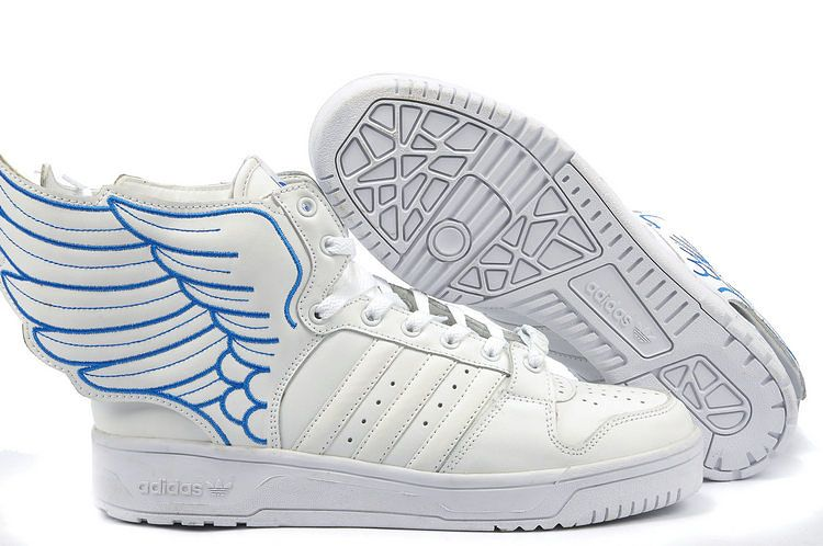 quality design 38235 74f6b Jeremy Scott Adidas Originals JS Wings 2.0 Fashion White Blue Shoes