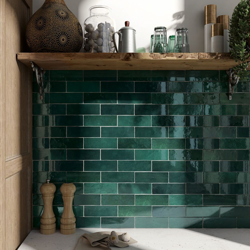 Marais Green Green subway tile, Kitchen splashback tiles