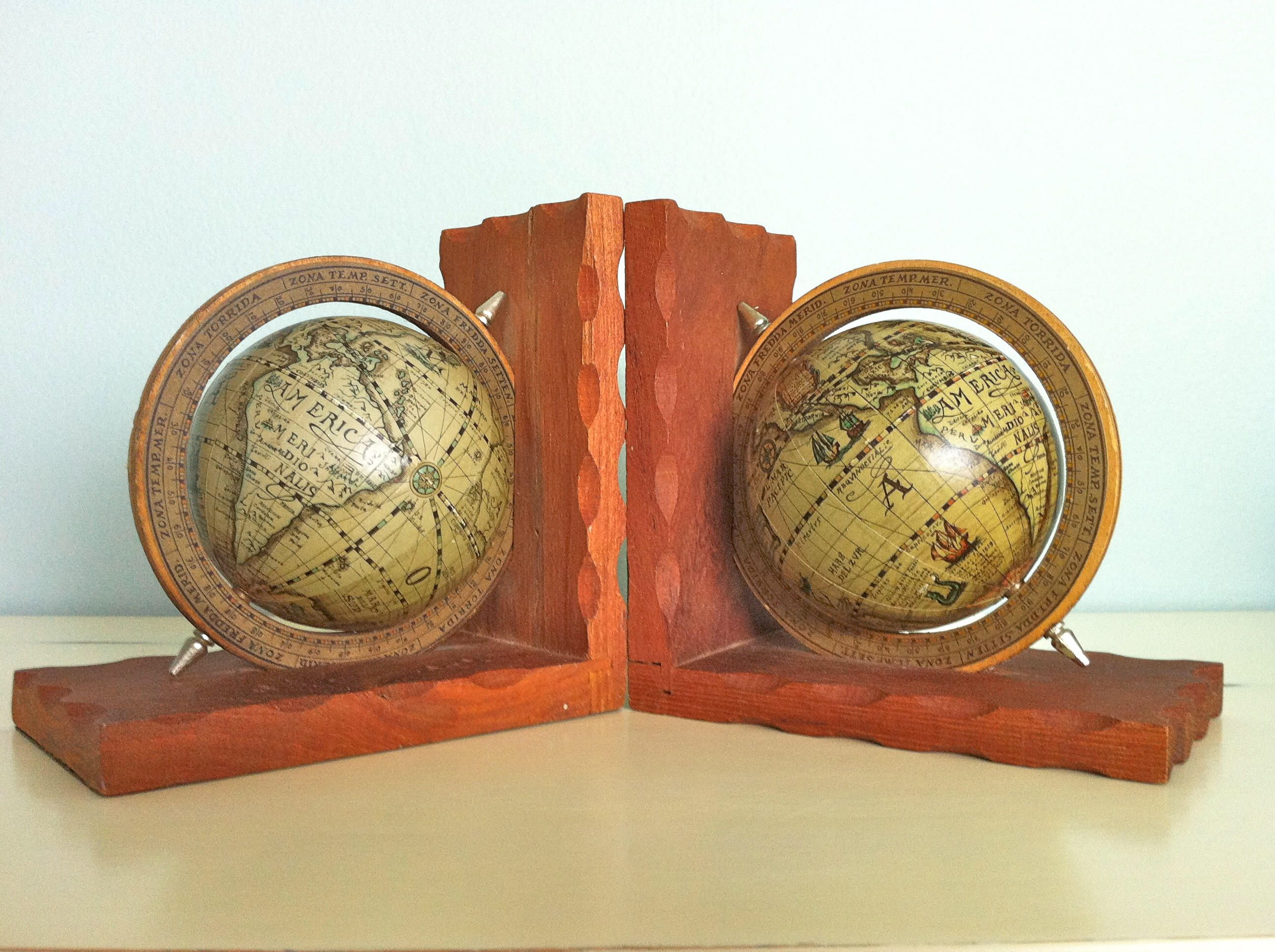 Vintage Globe Bookendsold World Globesantique Globe Bookendsvintage Spinning Globe Bookendsold