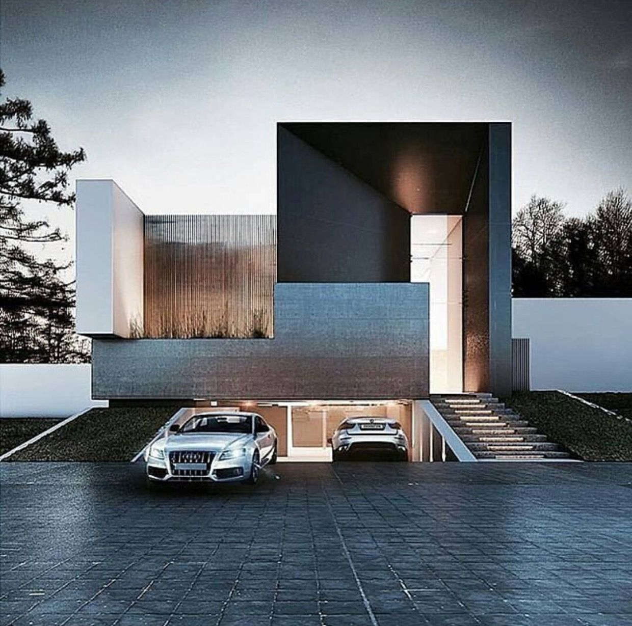 Garage Design Architecture: Entrance For Car. House Garage Design.