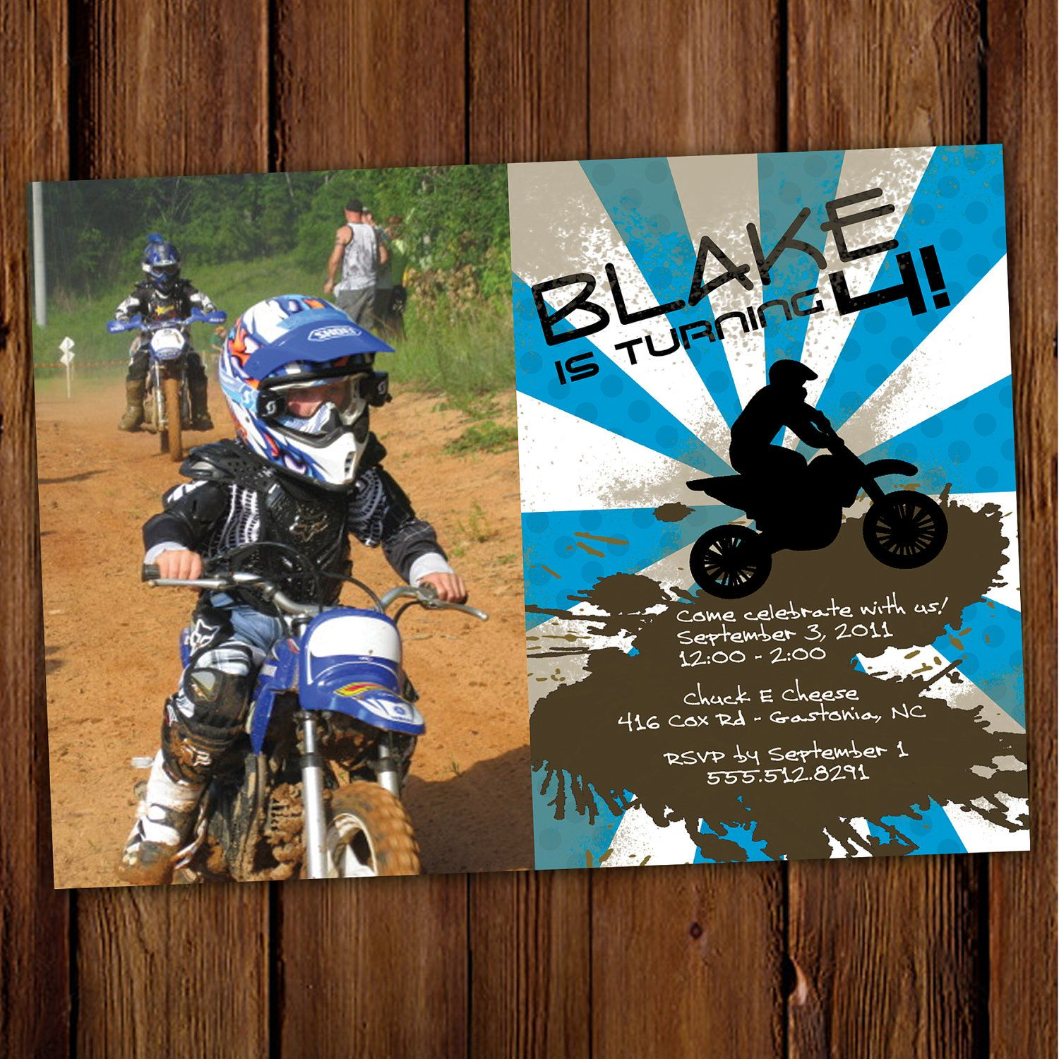 Dirt Bike Birthday Invitation ATV Motorcycle Four Wheeler – Motocross Birthday Cards