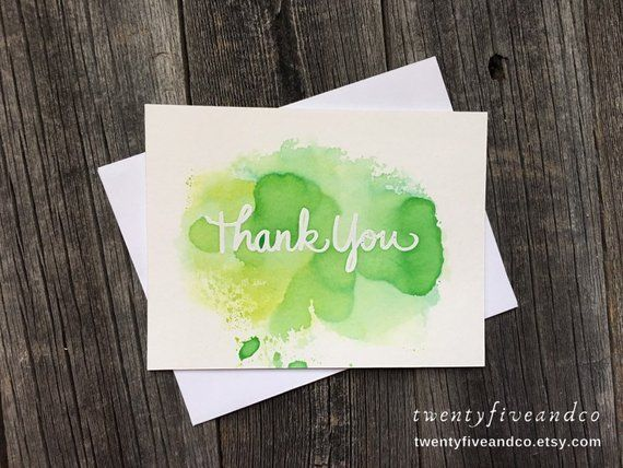 Set Of 5 Watercolor Thank You Cards White And Lime Products