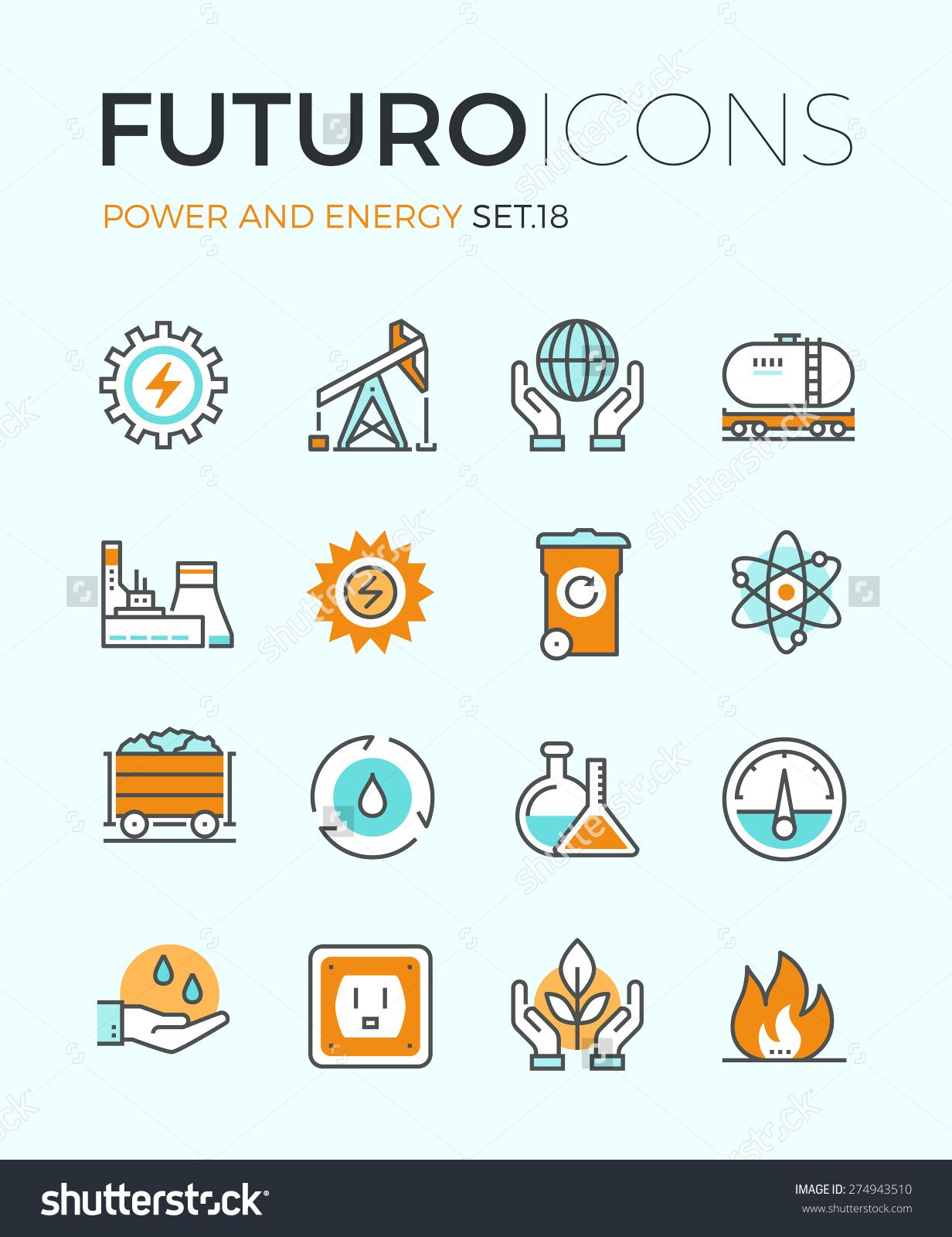 Line icons with flat design elements of power and energy production ...