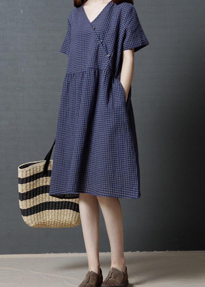 83e23ea5e493 Women loose fit plus size flax linen dress blue skirt casual short sleeve  pocket  Unbranded  dress  Casual