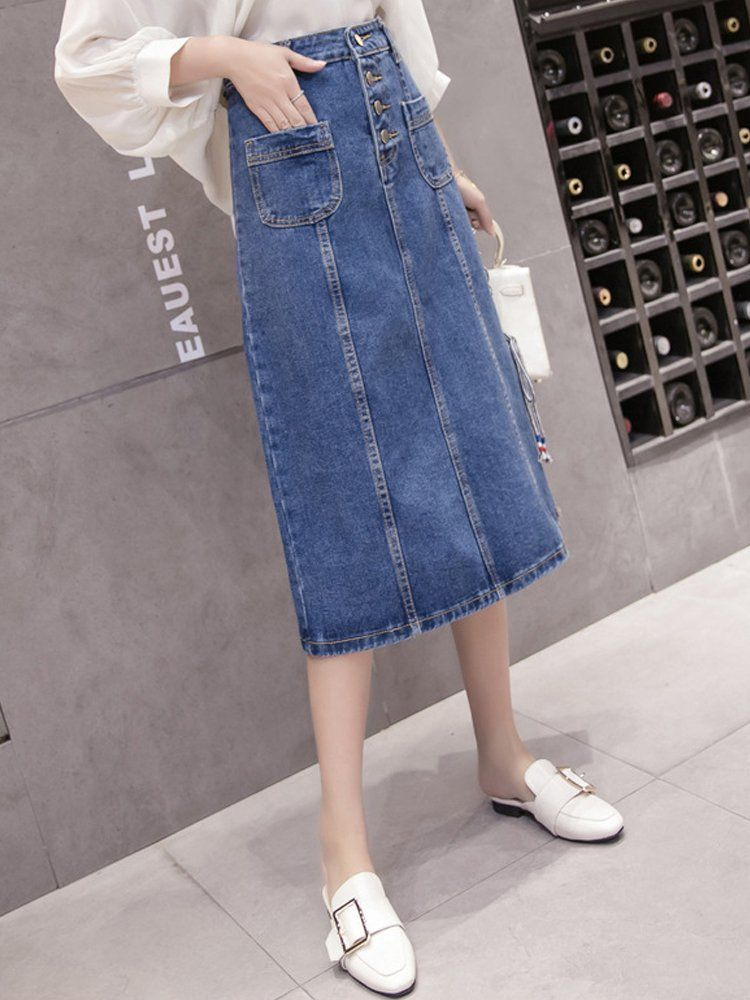f1d25b90f8 Womens High Waisted Casual Loose Fit Front Button Side Split ALine Long  Midi Denim Jean Skirt