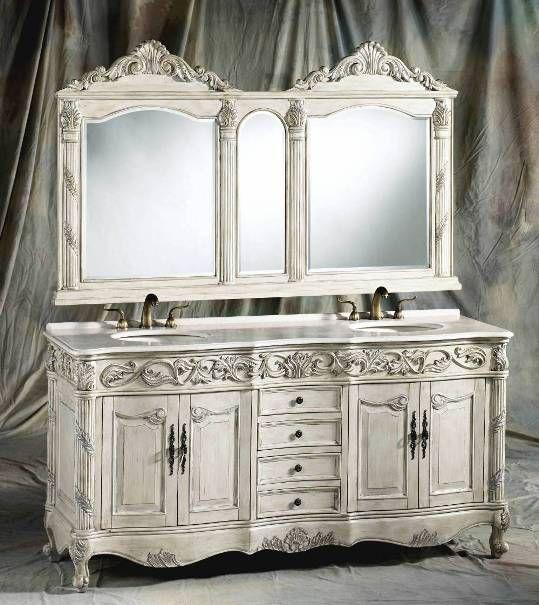 72 Inch Carolina Vanity Double Sink Vanity Antique White