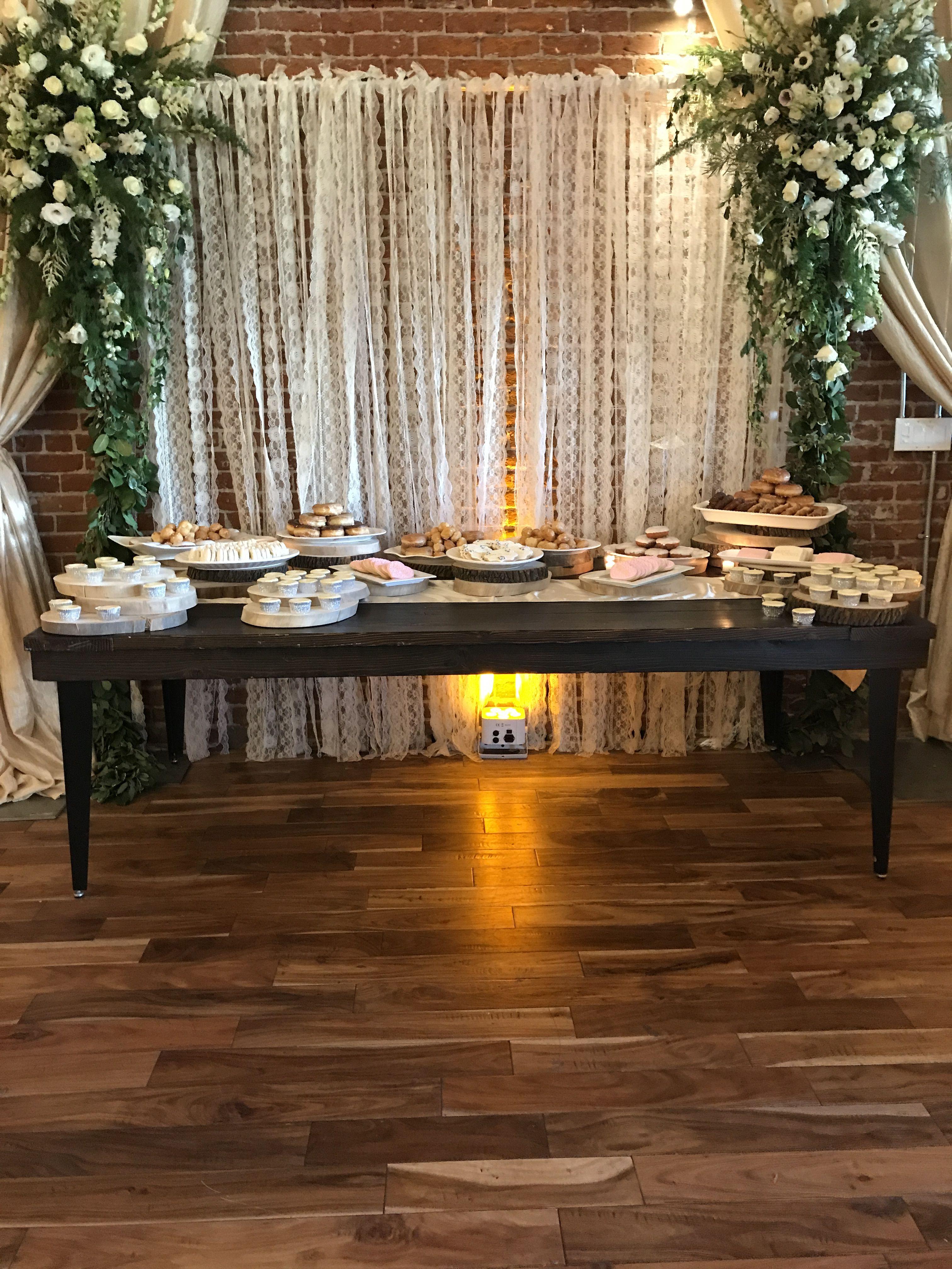 Dessert Table Greenery Garland Amber Uplight Wedding Held At The Century Modesto Ca Wedding Urban Chic Chic Wedding Venues Sweetheart Table