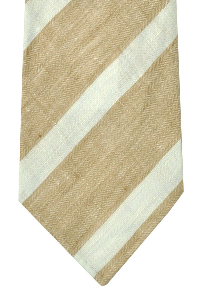 Kiton tie in cream striped design, sevenfold 100% linen $99.96