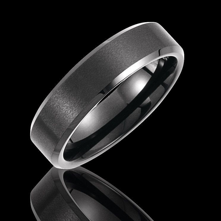 6.3MM Tungsten Satin Finish with Black PVD Wedding Band