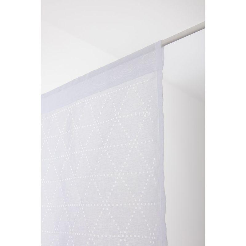 Paire De Voilages 45 X 90 Cm Passe Tringle Motif Geometrique Ajoure Lasercut Blanc Blanc Rideaudiscount In 2020