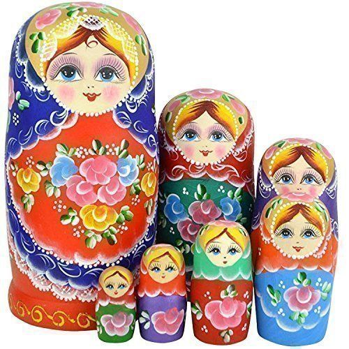 Russian Nesting Dolls 7 Piece Matryoshka Stacking Wooden Vintage Set Kids Adults