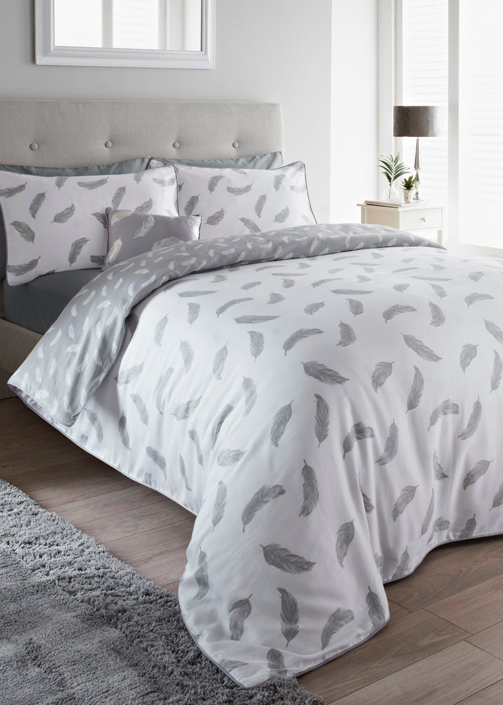 Feather Grey Printed Duvet Quilt Cover Bedding Set
