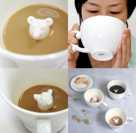 hidden animal mugs...thought this would be great for getting finicky eaters/drinkers to drink healthy drinks they might not actually care for that much, like vegetable smoothies.