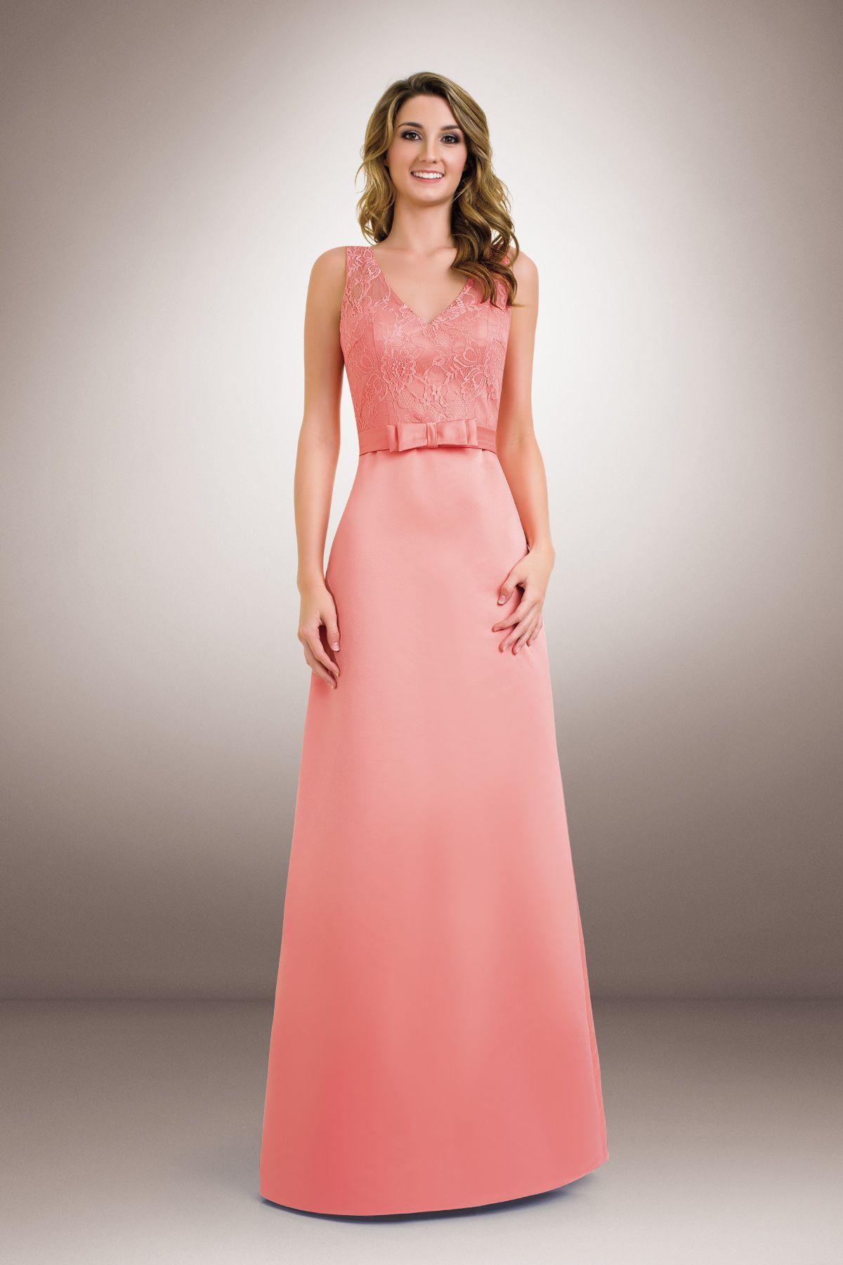 Pink Satin Bridesmaid Dress