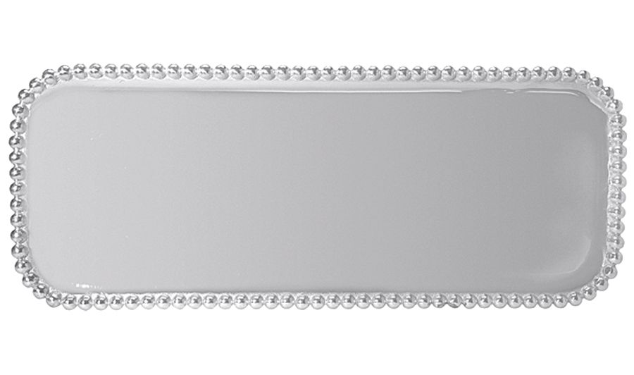 Pearled Long Platter | Lucky Den A multitude of pearls provide a luxurious border around the polished, silver interior of our Pearled Long Rectangular Platter. Handcrafted from 100% recycled aluminum.