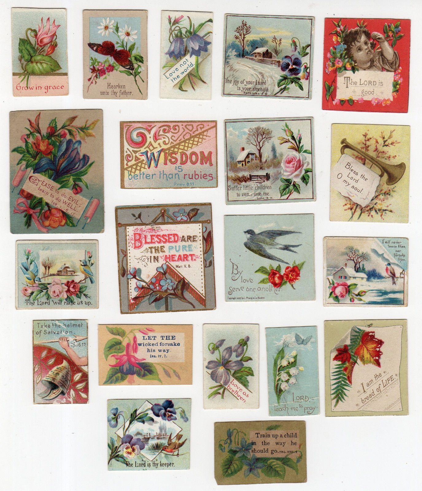 20 Miniature Religious Victorian Cards With Bible Verses And