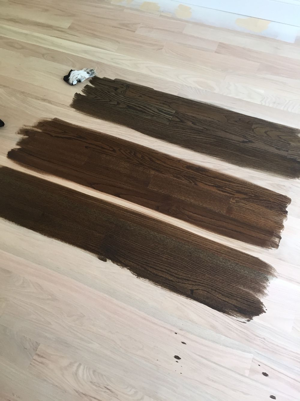 From Top Minwax Stains 50 50 Jacobean Ebony Jacobean And Dark Walnut Going With The J E Hardwood Floor Stain Colors Floor Stain Colors Wood Floor Colors