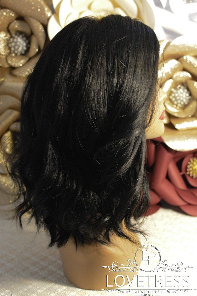 """16"""" Mid Length Black Wig, 100% Human Hair, Wigs for Sale, Remy Hair, Lace Closure, Bleach Knots, Worldwide, Fast Ship and Discreet Ship! by Lovetresshair on Etsy"""