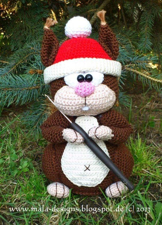 kleines Eichhörnchen, Häkelanleitung, amigurumi | Weihnachtsmütze ...
