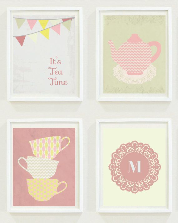Nursery Prints Tea Time Party S Room Monogram Teacups Digital For The Home Decor Kitchen Wall Art