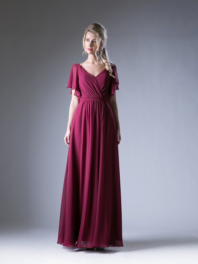 48c4e59fb2ea Diana Butterfly Sleeves V-Neck Chiffon Burgundy Dress | Divine Dress ...