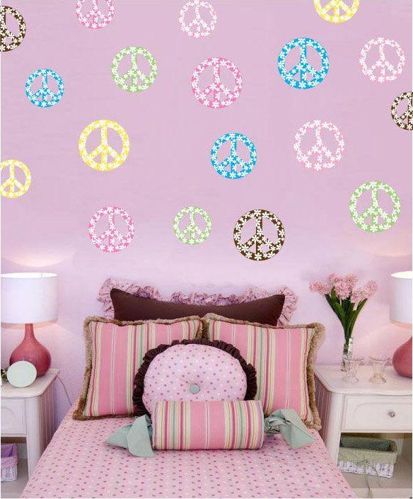 "Peace Sign Bathroom Decor Floral Peace Signs 6"" 4"" & 3"" Wall Decal  Room Decor Art$3995"
