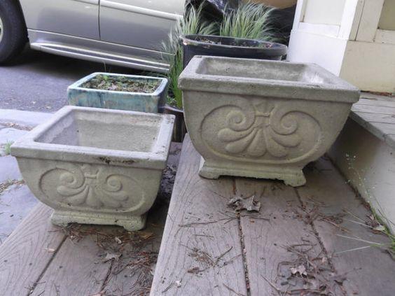 Pair Of Vintage Concrete Square Top By Frontporchfurniture On Etsy 80 00 Concrete Garden Garden Urns Garden Planters Pots